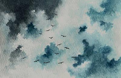 Flock Of Birds Against A Dark Sky  Art Print by Michael Vigliotti