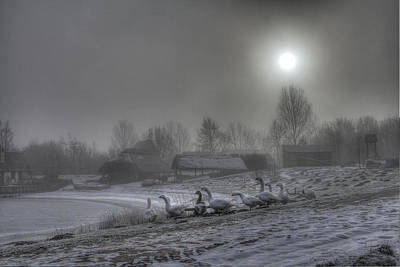 Snow Photograph - Medieval Village - Flock Of Geese by Jan Boesen