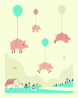 Pig Digital Art - Flock Of Pigs by Jazzberry Blue