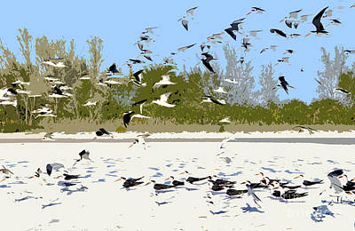 Flying Seagull Painting - Flock Of Seagulls by David Lee Thompson