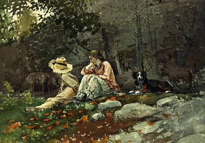 Flock Of Sheep Houghton Farm Art Print by Winslow Homer