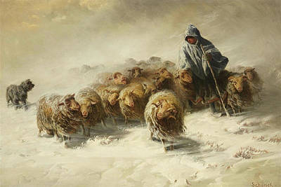Flock Of Sheep Painting - Flock Of Sheep In The Storm by August Friedrich