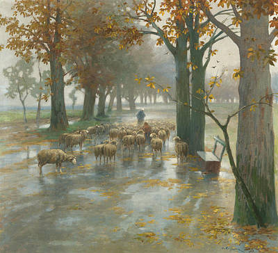 Painting - Flock Of Sheep With Shepherdess On A Rainy Day by Adolf Kaufmann