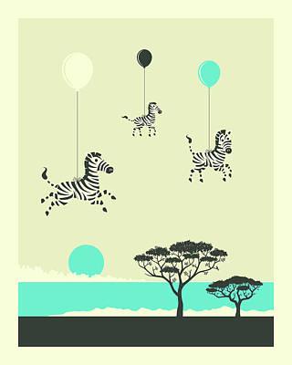 Zebra Digital Art - Flock Of Zebras - 1 by Jazzberry Blue