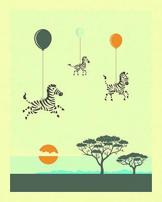 Zebra Digital Art - Flock Of Zebras by Jazzberry Blue
