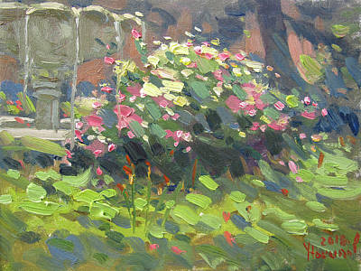Fountain Wall Art - Painting - Floers At Schoellkopf Park by Ylli Haruni