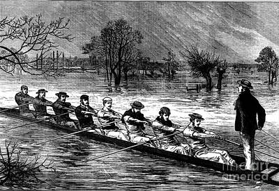 Painting - Flood Crew Rowing In The Storm. by Celestial Images