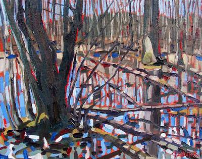 Swamp Oil Painting - Flooded Forest by Phil Chadwick