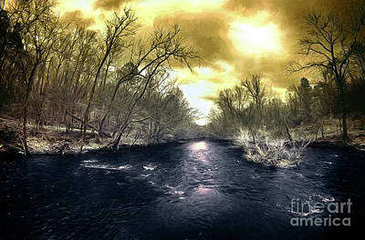 Painting - Flooded Uwharrie River In North Carolina Ap by Dan Carmichael