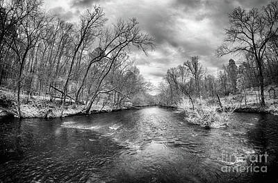 Photograph - Flooded Uwharrie River In North Carolina Bw by Dan Carmichael