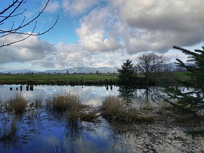 Photograph - Flooding River, Field And Clouds by Chriss Pagani