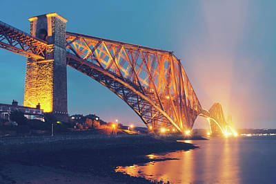 Floodlit Forth Bridge Art Print by Ray Devlin