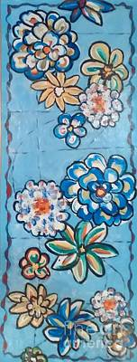 Painting - Floor Cloth Blue Flowers by Judith Espinoza
