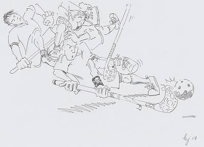 Drawing - Floorball Cartoon Drawing - On The Ball by Mike Jory