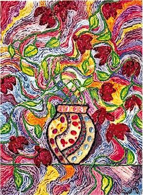 Floowers In A Jeweled Vase Art Print by Brenda Adams