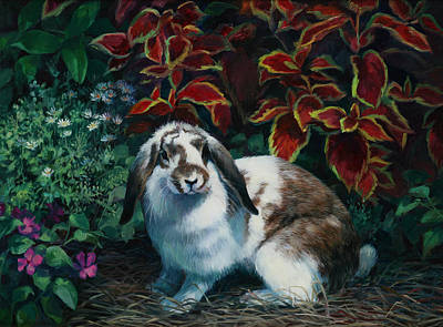 Pink Flower Painting - Floppy Ears by Laurie Hein