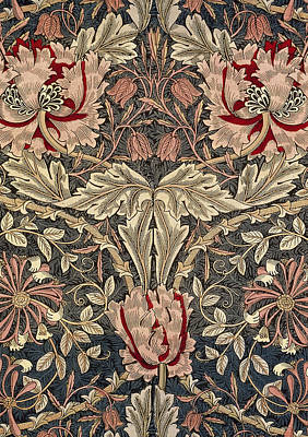 Tapestries - Textiles Mixed Media - Flora And Foliage Design by William Morris