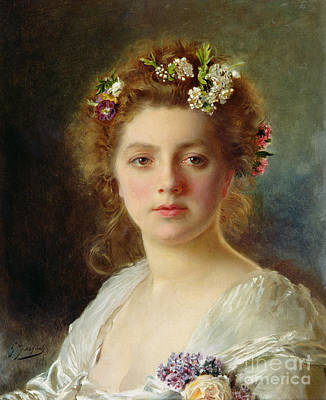 Silk Painting - Flora by Gustave Jacquet