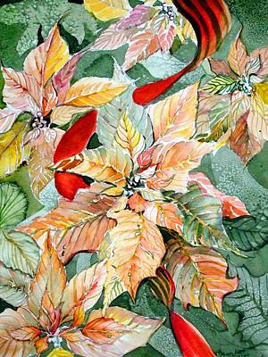 Peach Drawing - A Peachy Poinsettia by Mindy Newman