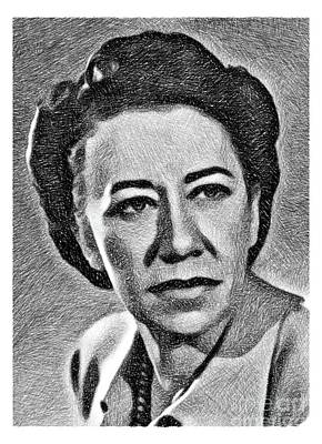 Musicians Drawings Rights Managed Images - Flora Robson, Vintage Actress by JS Royalty-Free Image by Esoterica Art Agency