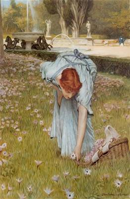 Borghese Painting - Flora Spring In The Gardens Of The Villa Borghese 1877 by Alma Tadema Lawrence