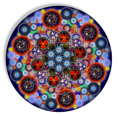 Digital Art - Flora Viscera Mandala by Iowan Stone-Flowers