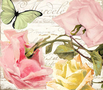 French Script Painting - Florabella I by Mindy Sommers