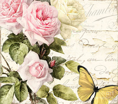 French Script Painting - Florabella II by Mindy Sommers