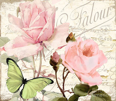 French Script Painting - Florabella IIi by Mindy Sommers