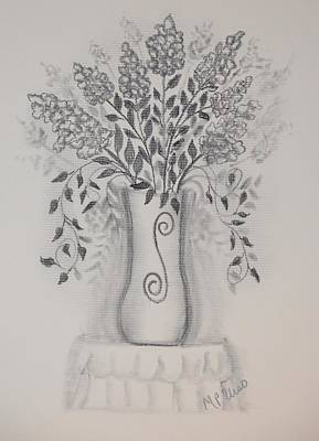 Drawing - Floral 1 - Charcoal by Maria Urso