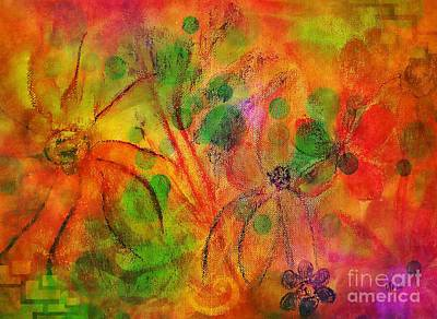 Pastel - Floral Abstract 17-04 by Maria Urso