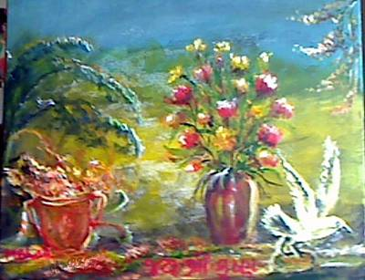 Painting - Floral And Bird by M Bhatt
