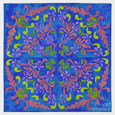 Tribal Art Painting - Floral Art 45bv by Gull G