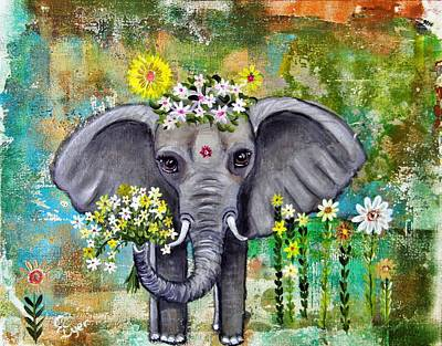 Wall Art - Painting - Floral Baby Elephant by Carol Iyer