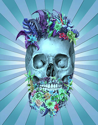 Painting - Floral Beard Skull 2 by Bekim Art