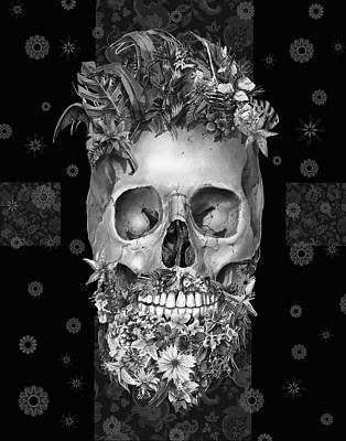 Painting - Floral Beard Skull 3 by Bekim Art
