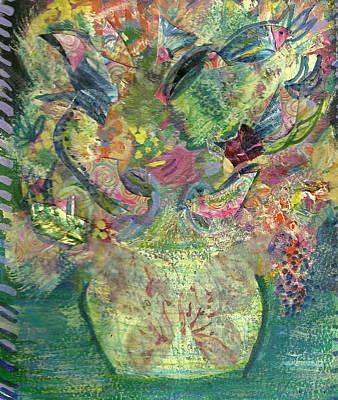 Floral Bouquet Green Art Print by Anne-Elizabeth Whiteway