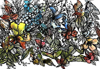 Painting - Floral bush I by Garima Srivastava