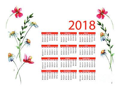 Painting - Floral Calendar by Regina Jershova