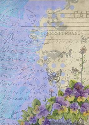Mixed Media - Floral Carte Postale by Vintage and Shabby Chic Art