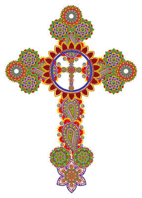 Floral Celtic Cross  Art Print by Aleksandr Volkov