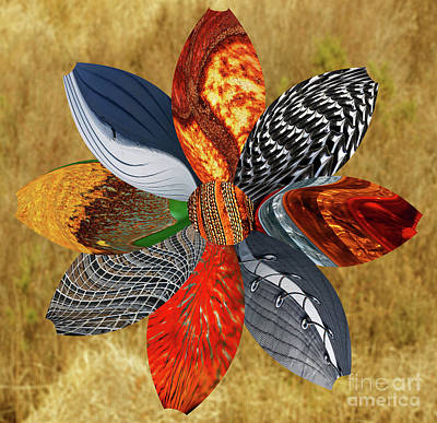 Digital Art - Floral Collage by Wendy Wilton