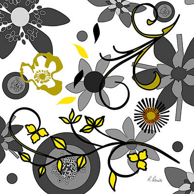 Gold And Gray Abstract Digital Art - Floral Collision by Ruth Palmer