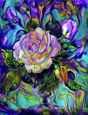 Mixed Media - Floral Composition With A White Rose by Lilia D