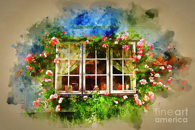 Photograph - Floral Cottage Window by Jack Torcello