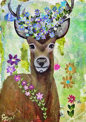 Wall Art - Painting - Floral Deer by Carol Iyer