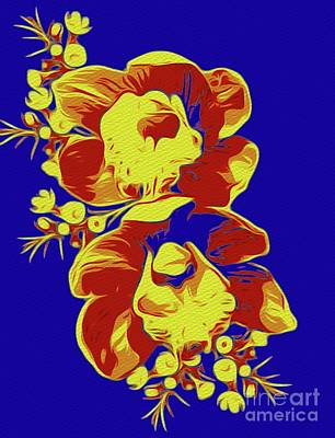 Florals Royalty-Free and Rights-Managed Images - Floral Design - Blue by Sarah Kirk
