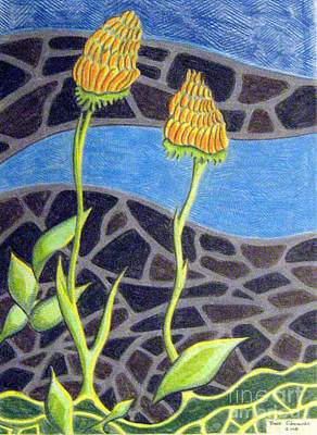 Dave Drawing - Floral Design One by Dave Edwards