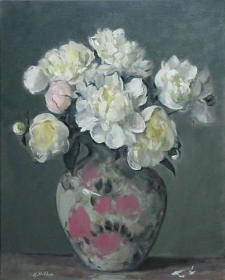 Painting - Floral Design Vase With White Peonies by Robert Holden