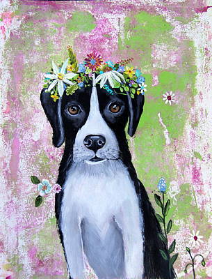 Wall Art - Painting - Floral Doggy by Carol Iyer